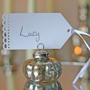 Mercury Silver Wedding Place Card Holder