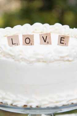 Scrabble LOVE wedding cake topper