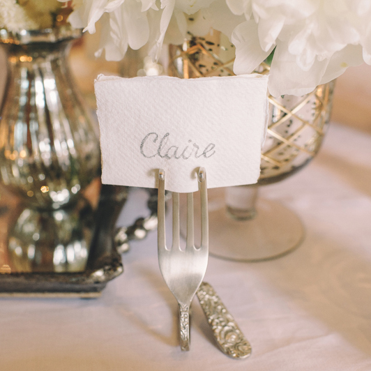 Silver Fork Wedding Place Card Holders