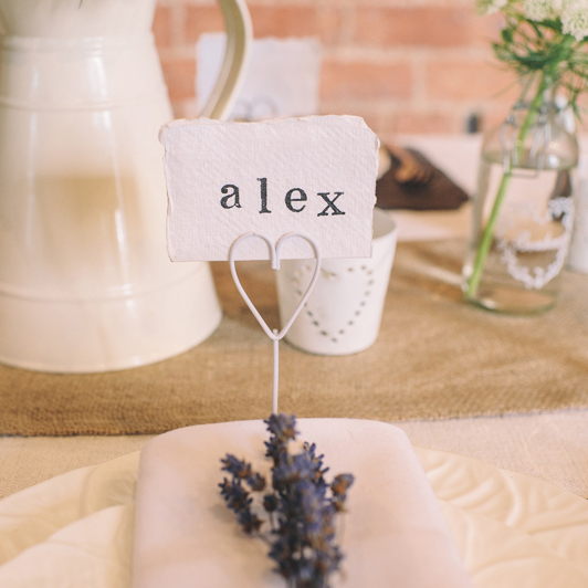 Wedding Place Card Holders White Hearts