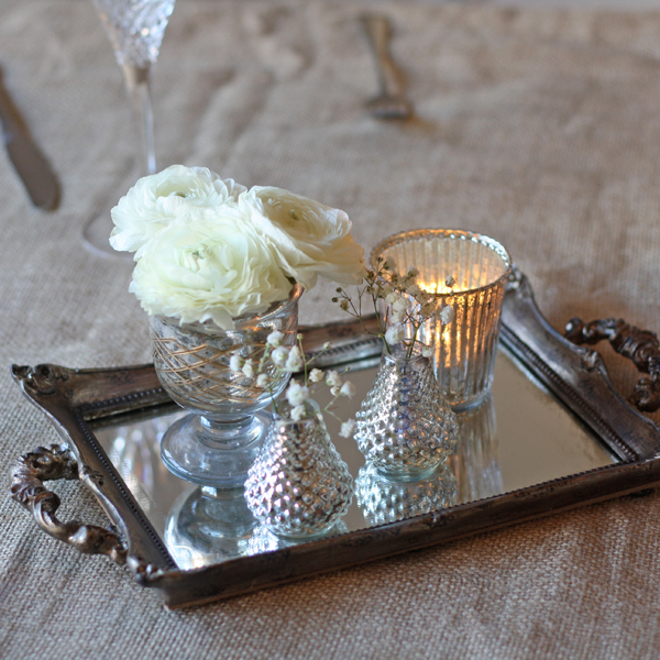 mirror tray wedding table centre