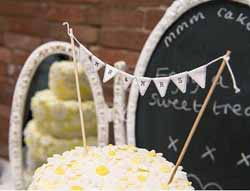 mr and mrs bunting wedding cake bunting