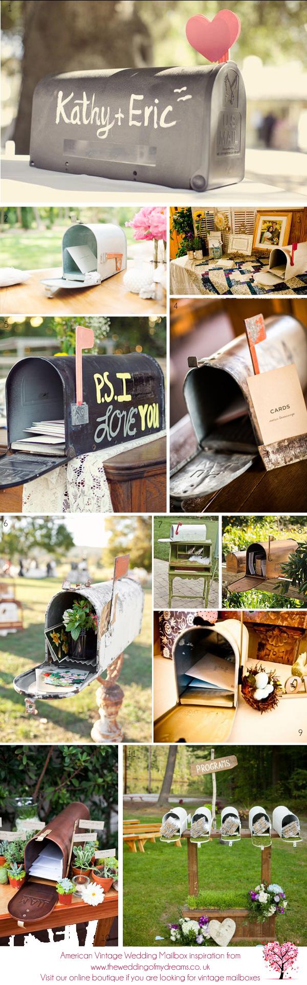us american vintage weding mailbox