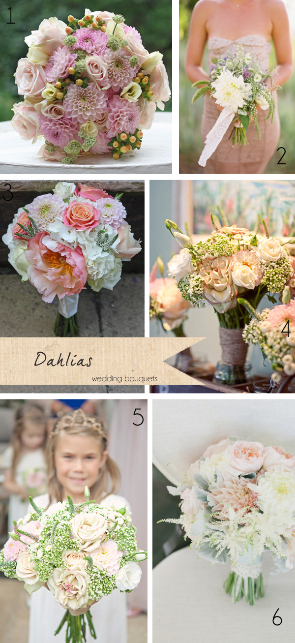 dahlias pink wedding bouquets