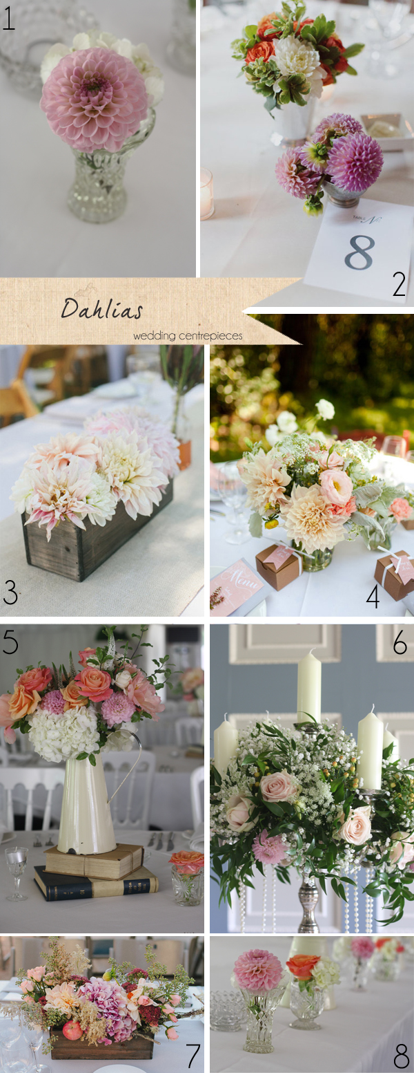 dahlias pink wedding flowers centrepieces