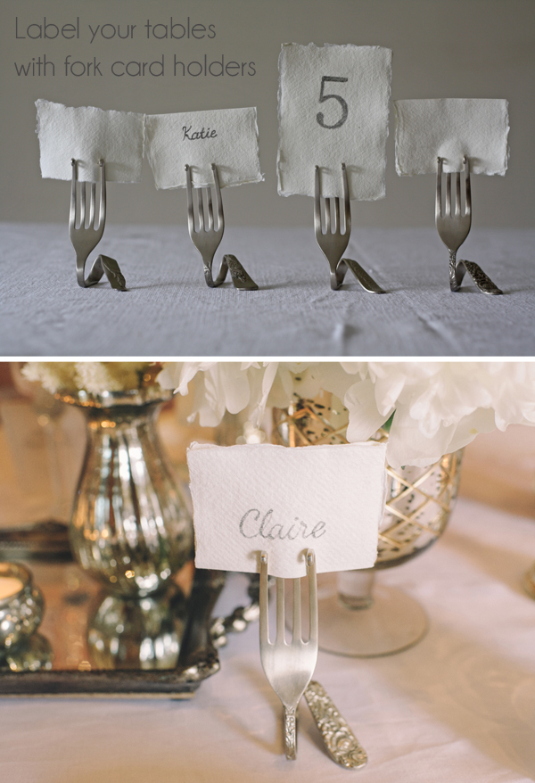 fork card holders wedding place card holders
