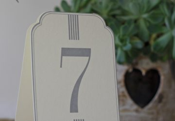 set of cream grey card wedding table numbers