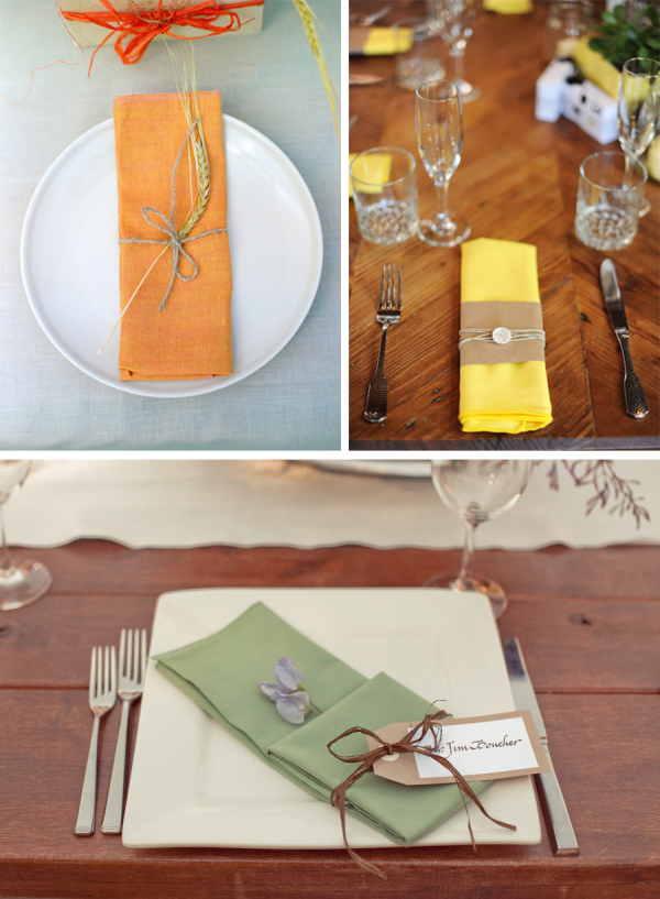 coloured napkins for wedding place settings