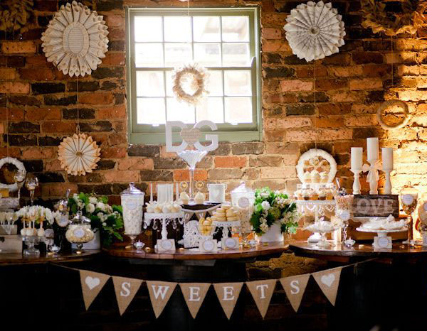 rustic wedding dessert table hessian bunting