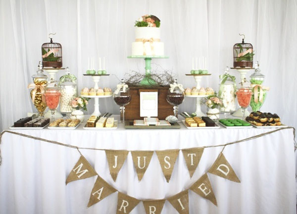 rustic wedding dessert table hessian just married bunting