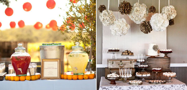 wedding dessert table glass drinks dispensers