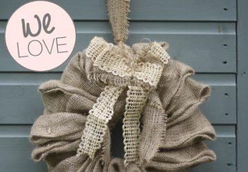 hessian burlap wreath hanging wedding decorations