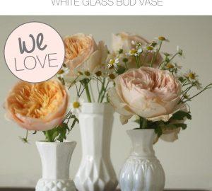 white glass bud vases wedding table decorations