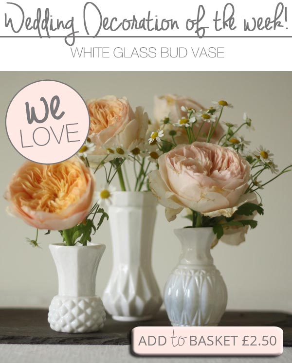 small white bud vases wedding table decorations