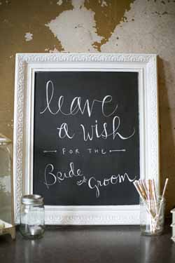 blackboard wedding decorations - guest book leave a wish for the bride and grooms