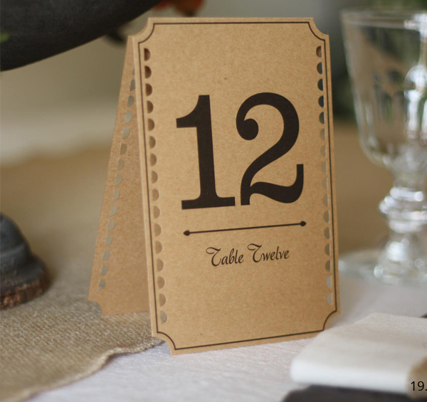 brown card wedding table numbers