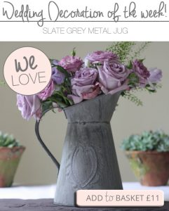 grey jug wedding table decoration
