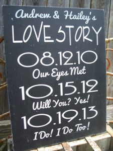 important dates in relationship to display at your wedding, first met, engaged, wedding date on blackboard