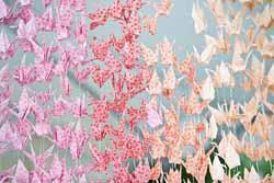 ombre paper cranes wedding backdrop