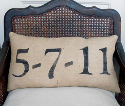 personalised wedding date on natural cushion to display at your wedding