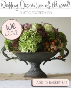 rustic footed urn wedding table decoration centrepiece