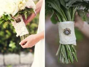 rustic wedding bouquet wraps brooches with lace ribbon