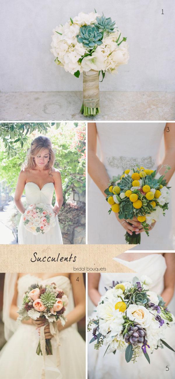 succulents wedding flowers bridal bouquets