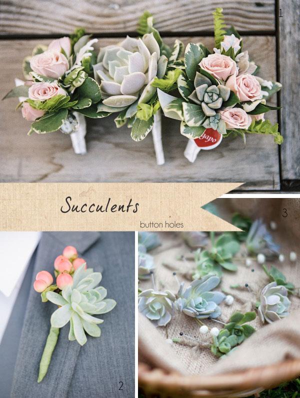 succulents wedding flowers button holes