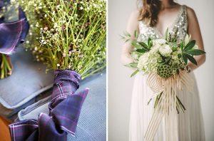 wedding bouquet ribbon tartan luxe gold