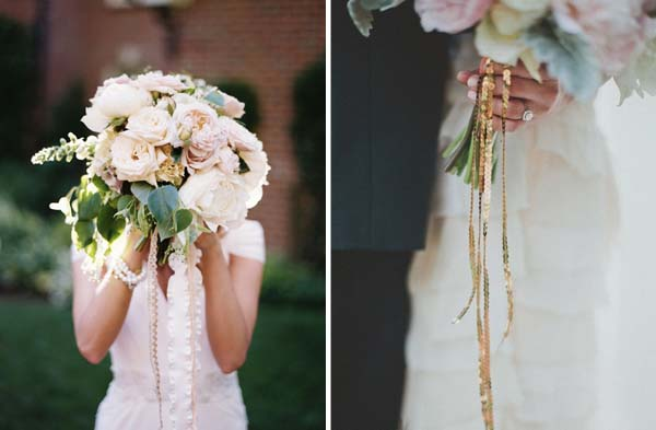 wedding bouquet ribbons trailing lace gold sequins