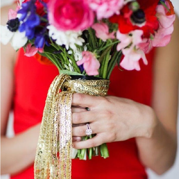 wedding bouquet wraps ribbon gold sequins trailing