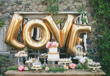 wedding dessert table LOVE gold balloons
