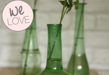 wedding table decoration green bottles organic vases