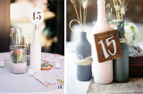 wedding table number as centrepiece