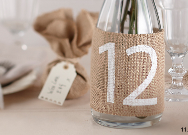 wedding table number hessian bottle
