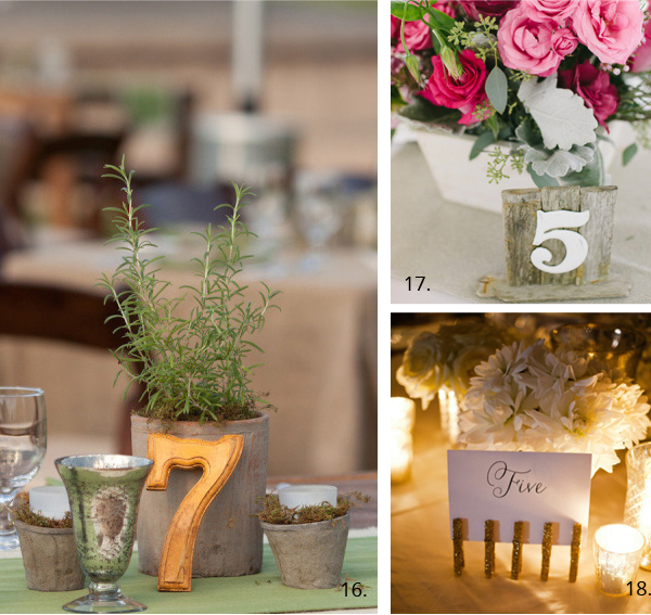 wedding table numbers free standing