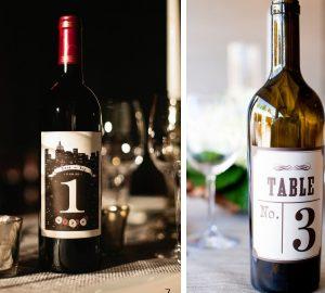 wedding table numbers wine bottle