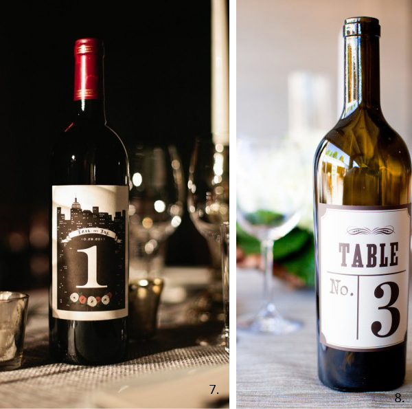 wedding table numbers wine bottle