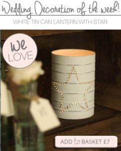 white tin can lanterns wedding decorations