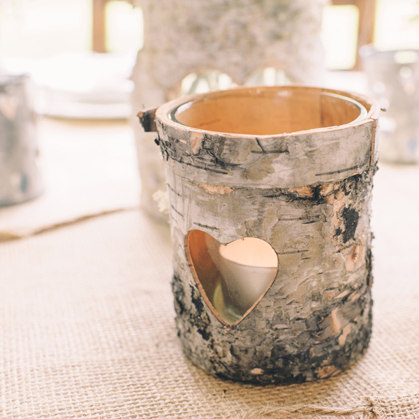 rustic birch bark tea light holders