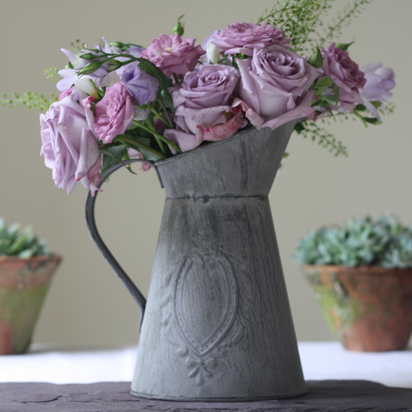 slate grey jug wedding centrepieces rustic