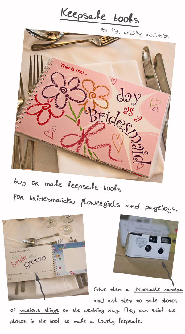 wedding activities for children keepsake books and cameras for bridesmaids pageboys