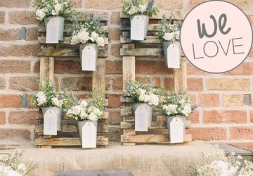 wedding table plan rustic with flower pots
