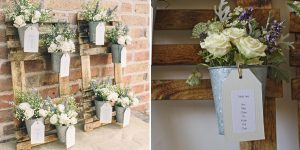 rustic wedding table plan ideas with flower pots