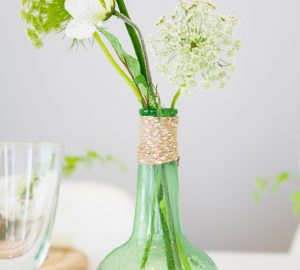 green glass bottles wedding centrepies organic shape rustic wedding decorations
