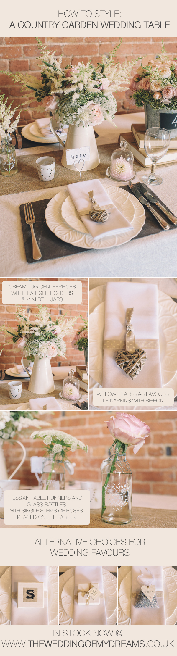 how to style a country garden wedding tables jug centrepieces wedding favours glass bottles hessian table runners