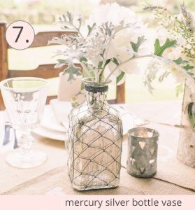 mercury silver bottle vase wedding centrepiece