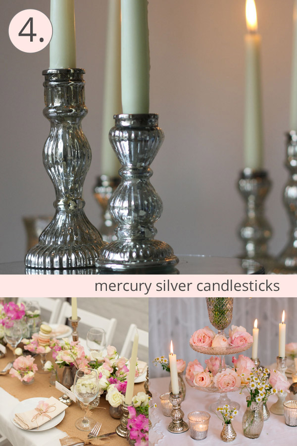 mercury silver candlesticks wedding