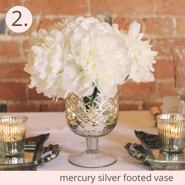 mercury silver vases footed urn wedding centrepiece