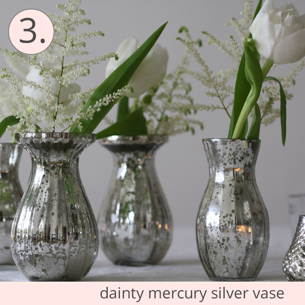 mercury silver vases small wedding decorations